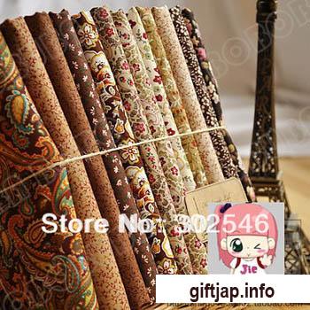 Набор ткани для рукоделия - 12 шт. 45 * 50 см коричневый, цветочный, хлопок - Бесплатная доставка