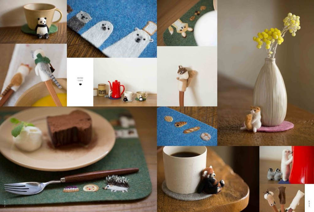 Made of wool felt unwind animals and Ouchi cafe