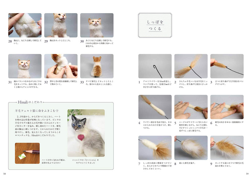 Wool felt cat How to make book