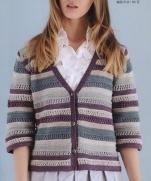 Полосатый кардиган спицами из журнала Lets Knit Series Crochet in Europe 2013 / Spring-Summer