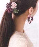 Фиалковые серьги и заколка (схема вязания) из журнала Crochet Cute Girly accessories