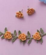 Цветочный браслет и серьги крючком (схема)