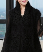 Combination of fur clothing cashmere crocheted | Комбинированое вязание