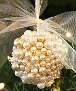 Christmas balls decorated with beads