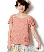 Вязание летних топов в розовом цвете из японского журнала Knit Ange 2014 Summer
