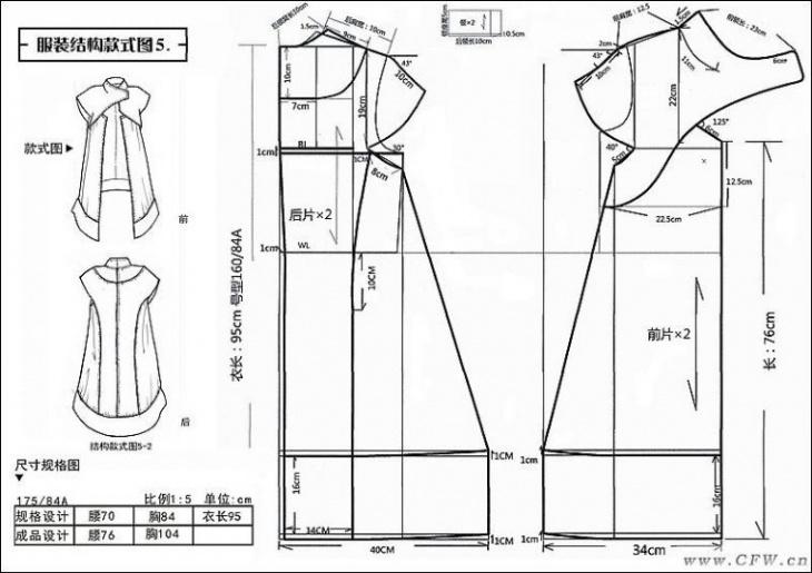 Выкройки креативного платья и пальто-накидки