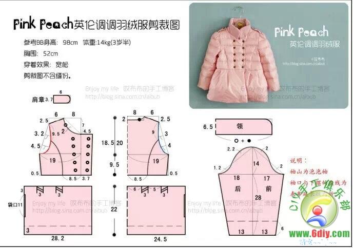 Схема выкройки детского пальто